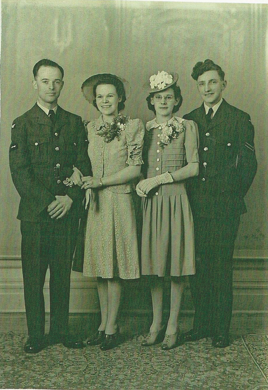 Letty and Ron Evans' wedding day, May 5, 1943.