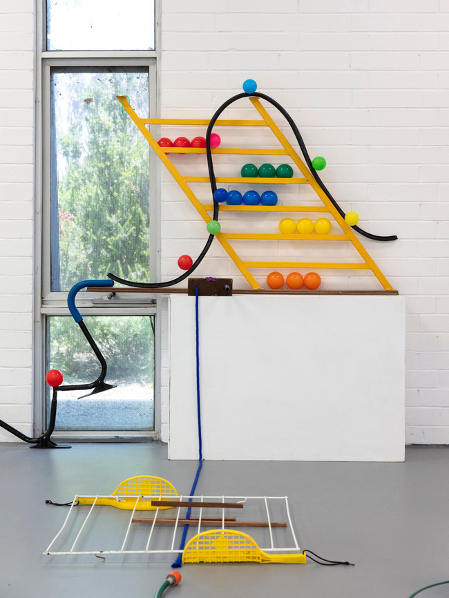 Megan Shaw,  Miscellaneous Goods (installation detail) 2018. Discarded objects and play equipment, dimensions variable. Curtin Graduation Show, Curtin University, Western Australia. Photo credit Bo Wong