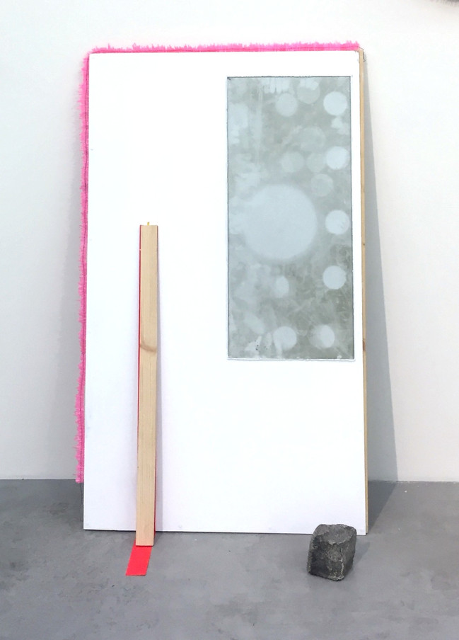 Megan Shaw, Uncut Tables (detail) 2019. Dust, glass, wood, plastic tubing, wire, tape and cobblestone,140 x 98 x 35 cm De/Constructing Perspectives, Structura Gallery, Sofia, Bulgaria.