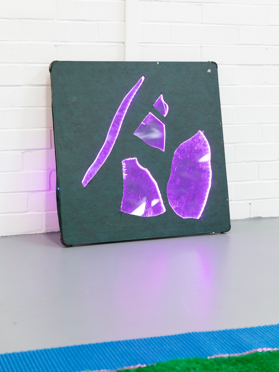 Megan Shaw,  Miscellaneous Goods (detail) 2018. Vinyl card table with broken perspex and LED lights, 72 x 72 x 8cm. Curtin Graduation Show, Curtin University, Western Australia. Photo credit Bo Wong