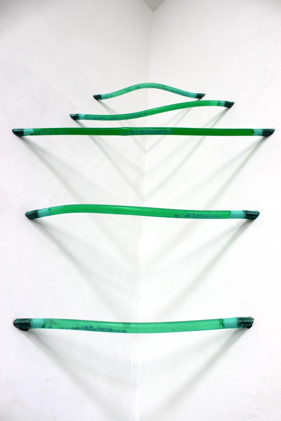 Megan Shaw, Assumed Composition (detail) 2019. Garden hose, steel, silicone, water, dye and enamel paint, 106 x 78 x 27cm,  École Nationale Supérieure d'Art, Dijon, France