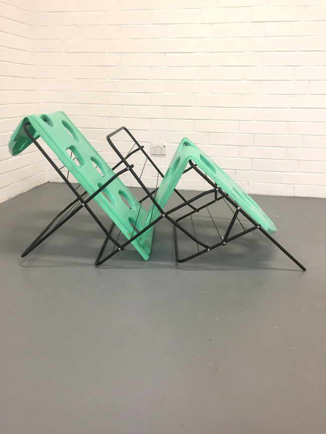 Megan Shaw,  Miscellaneous Goods (detail) 2018. Discarded object and plastic playground material 150 x 70 x 102cm. Curtin Graduation Show, Curtin University, Western Australia. Photo credit Bo Wong