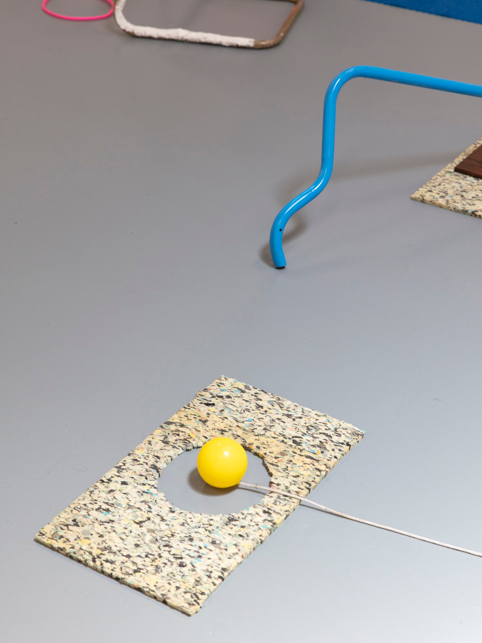 Megan Shaw,  Miscellaneous Goods (detail) 2018. Discarded objects and play equipment, dimensions variable. Curtin Graduation Show, Curtin University, Western Australia. Photo credit Bo Wong