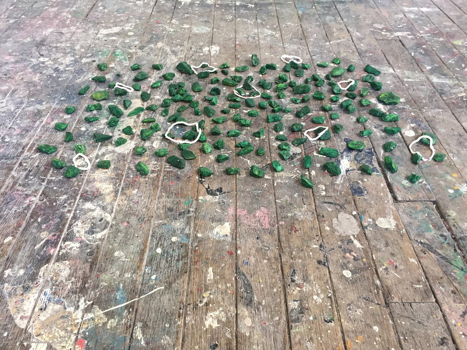 Megan Shaw, Assumed Composition (detail) 2019. Stones with acrylic and enamel paint, silicone, 80 x 44 x 5cm,  École Nationale Supérieure d'Art, Dijon, France