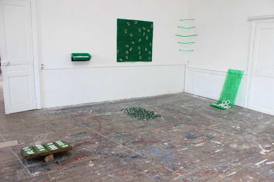 Megan Shaw, Assumed Composition (installation view) 2019. Mixed green and white media, dimensions variable École Nationale Supérieure d'Art, Dijon, France