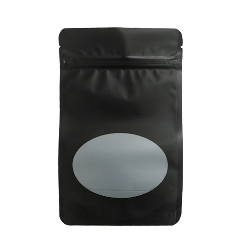 """5"""" x 8"""" Matte Black Standing Bags with Window (100/Pack)"""