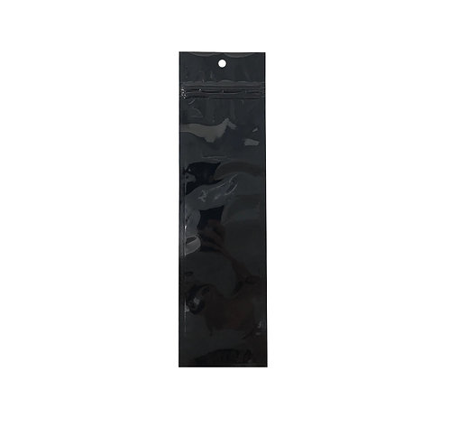 "3.5"" x 10.5"" Black Gloss Hanging Bags (100/pack)"