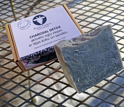 Detox Charcoal black soap Sandalwood - Tea tree