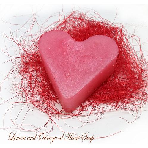 Valentine Heart Ornage&Lemon / Valentīna sirds ziepes Apelsīns-Citrons