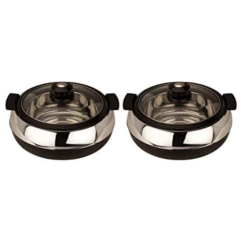 Jaypee Glasserol Twin (1200+1200) Black, Set of 2 Casserole (1200+1200 ml)