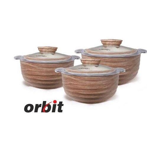 Jaypee Orbit Wooden Casserole Set of 3 (1000 ml + 1500 ml + 2000 ml)
