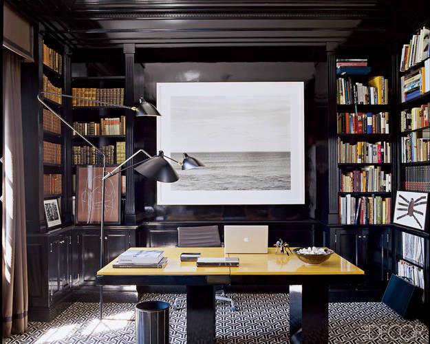 Black walls Office High Gloss Elle decor