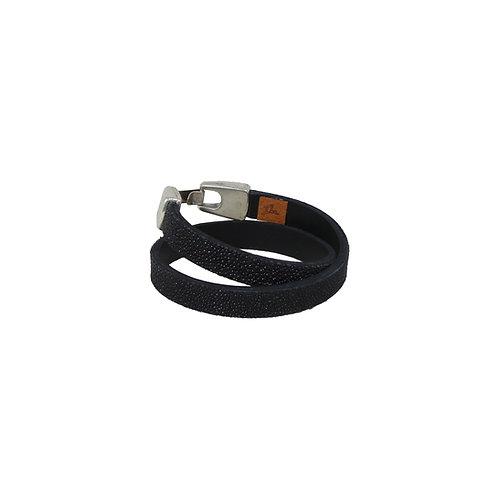 Dubbel armband rog zwart