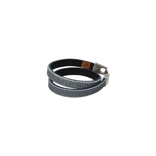 Dubbel armband rog blauw/grijs