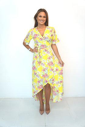 Neon Starfish Yellow Wrap Dress