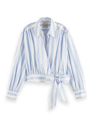 Scotch and Soda Cotton Wrapover Stripe Shirt