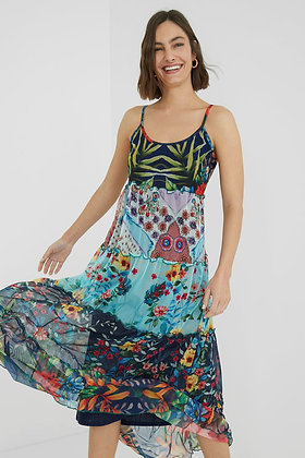 Desigual Long Flared floral Patch Dress