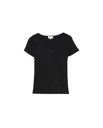 Grace and Mila Black Canet Ribbed T-shirt