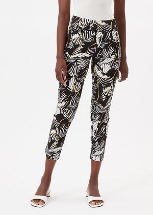 Up Pants Black Yellow Leaf Print