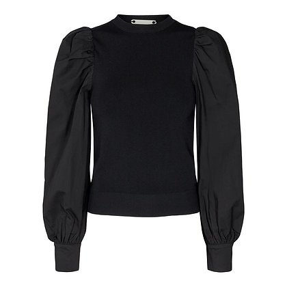 Co'couture Merci Black Puff Sleeve Top