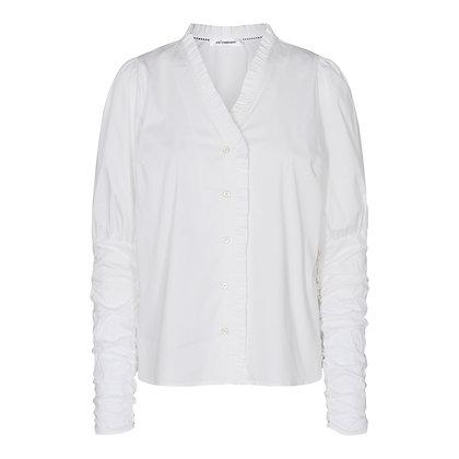 Co'couture White Frilled V-neck shirt