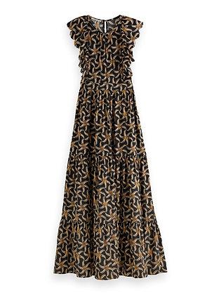 Scotch and Soda  Drapey scalloped edge maxi dress