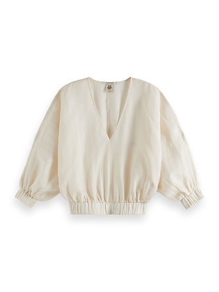 Scotch and Soda voluminously sleeved linen top