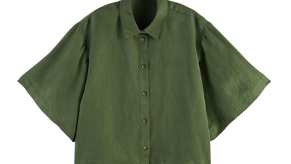 Scotch and Soda short-sleeved lien-blend shirt