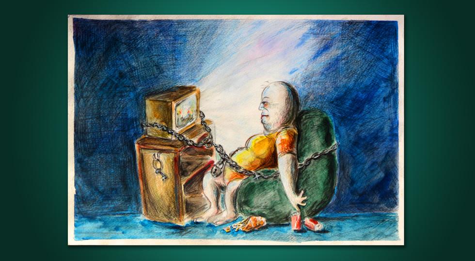 תקוע מול הטלוויזיה - איור בעפרונות קאראנדאש