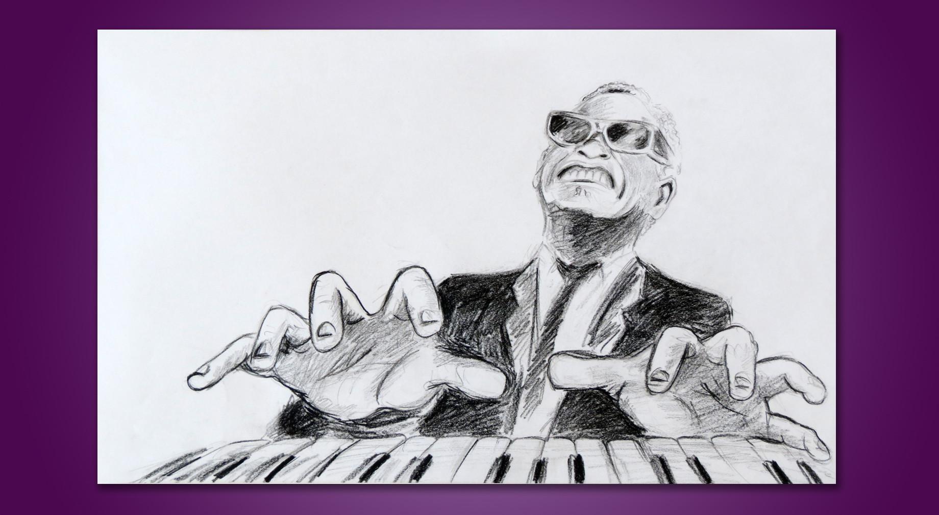 ריי צ'ארלס - איור בעיפרון פחם