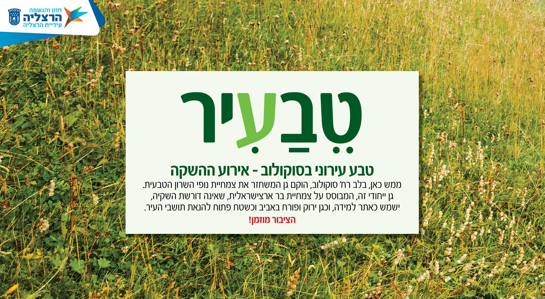 כותרת לגינה ארץ ישראלית בלב מרכז אורבני בהרצליה
