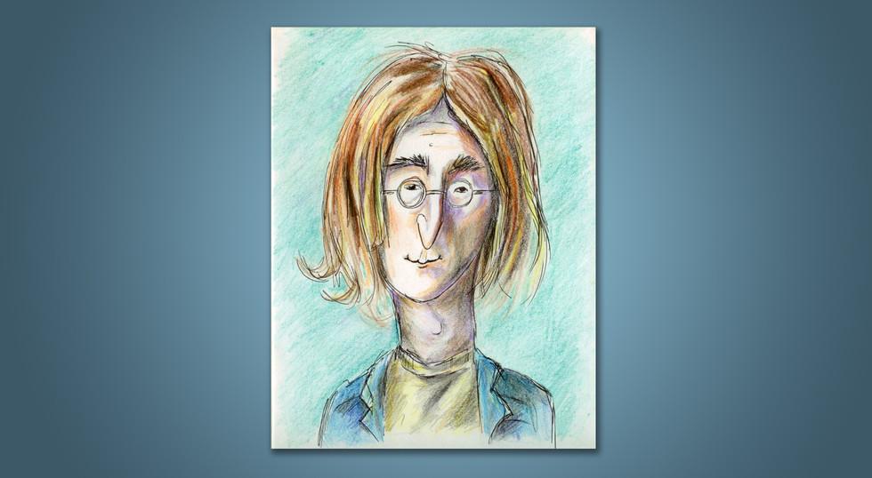 ג'ון לנון - איור בעפרונות צבעוניים