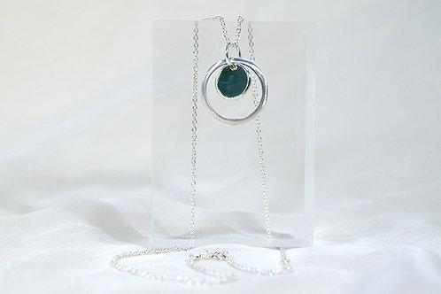 Silver Necklace in  Dark Sage Enamel