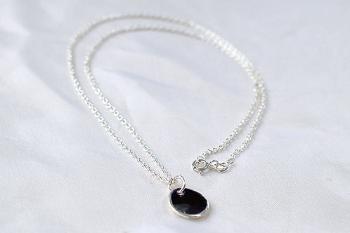 Silver and Black Enamel Pendent