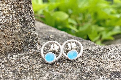Silver and Enamel Hoop Earrings
