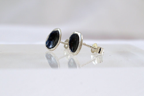 Silver and Black Enamel Earrings