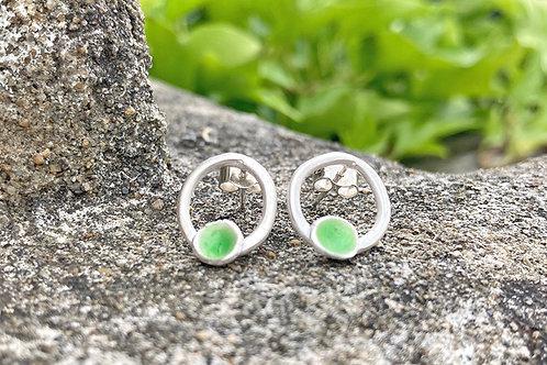 Silver and Bright Green Enamel Earrings