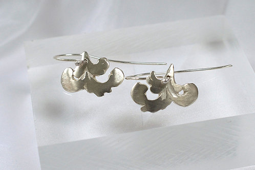 Contemporary Silver Drop Earrings in a  Rococo Style