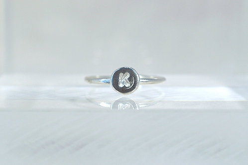 Silver Initialled Ring