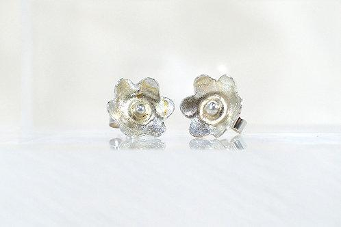 Rustic Silver Blossom Earrings