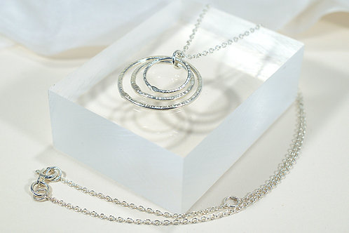 Silver Hoop Necklace - Textured