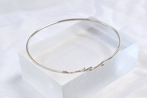 Contemporary Silver Woodland Bangle