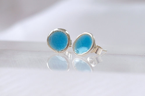 Silver and Light Blue Enamel Earrings