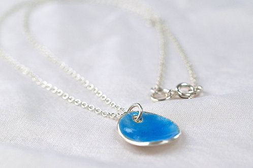 Silver and Sky Blue Enamel Pendent