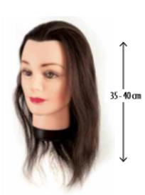 Cabeça Aprendiz Cabelo Natural 35-40cm