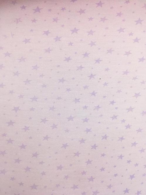 Malha Estampada Estrela Lilás Fundo Rosa