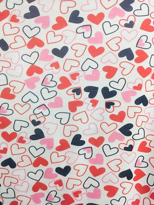 Malha Estampada Corações Coloridos
