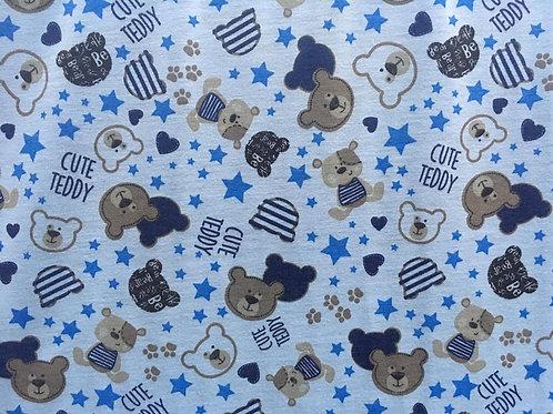 Malha Estampada Ursinho Teddy Azul