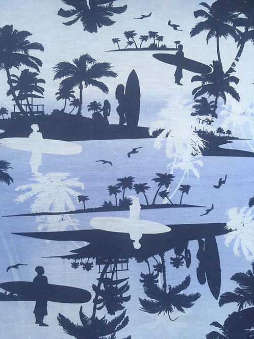 Malha Estampada Surf Azul
