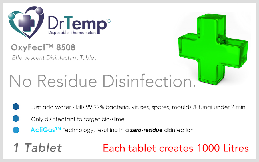 Oxyfect™ range of disinfectant water tablets that kill all traces of superbugs, eradicate bio-slime and algae and leave zero chemical residue behind.
